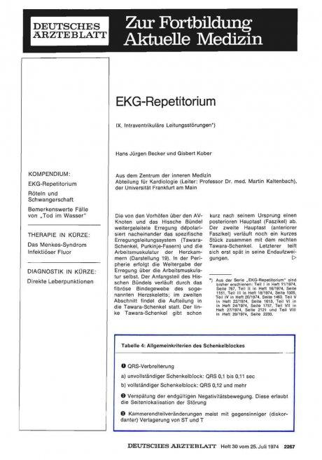 EKG-Repetitorium: IX. Intraventrikuläre Leitungsstörungen