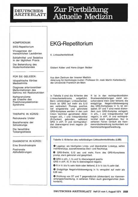 EKG-Repetitorium: X. Linksschenkelblock