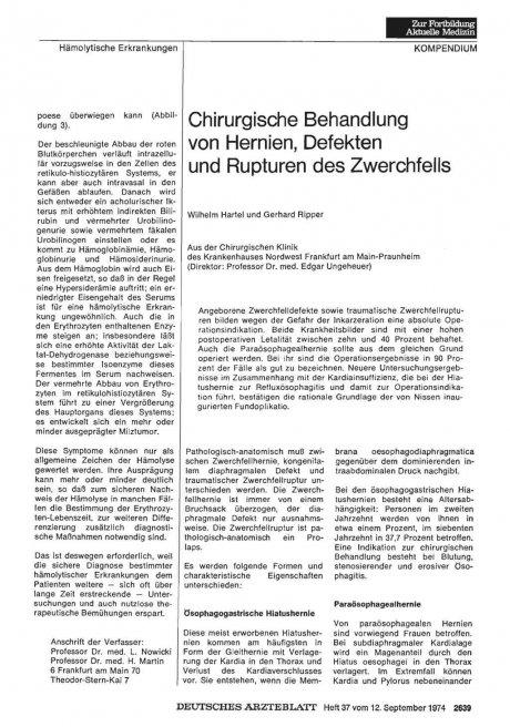 Chirurgische Behandlung von Hernien, Defekten und...