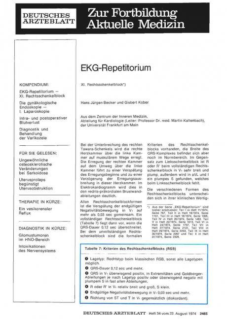 EKG-Repetitorium XI. Rechtsschenkelblock