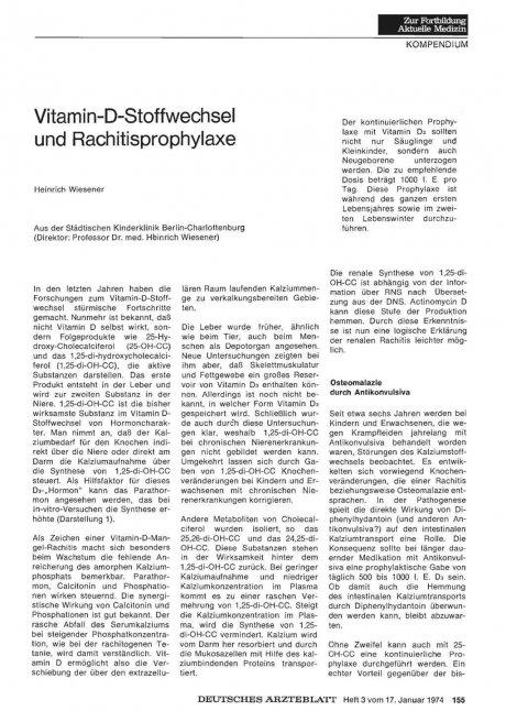 Vitamin-D-Stoffwechsel und Rachitisprophylaxe