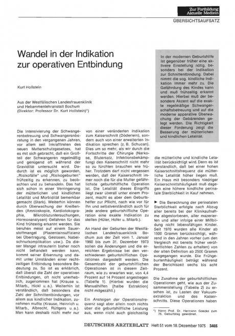 Wandel in der Indikation zur operativen Entbindung