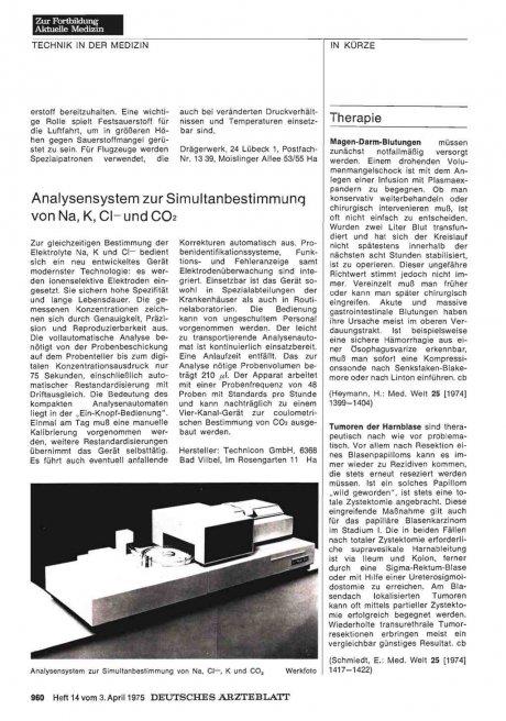 Analysensystem zur Simultanbestimmung von Na, K,...