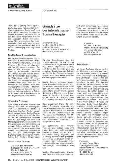 Grundsätze der internistischen Tumortherapie