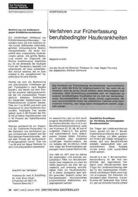 Verfahren zur Früherfassung berufsbedingter...