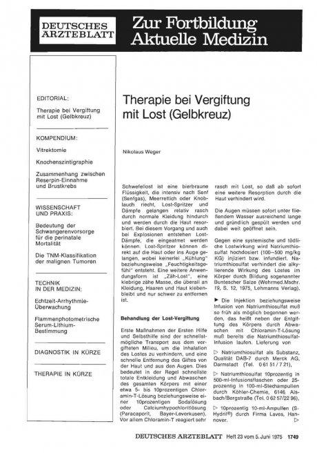 Therapie bei Vergiftung mit Lost (Gelbkreuz
