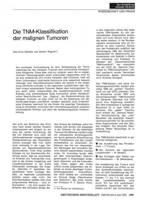 Die TNM-Klassifikation der malignen Tumoren