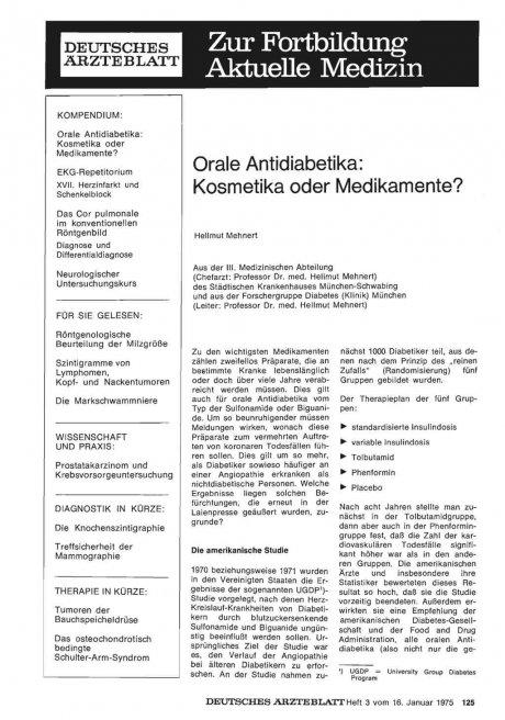 Orale Antidiabetika: Kosmetika oder Medikamente?