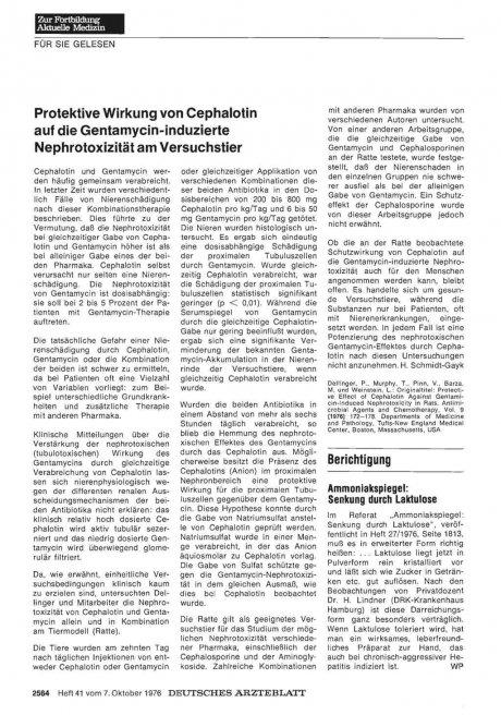 Protektive Wirkung von Cephalotin auf die...