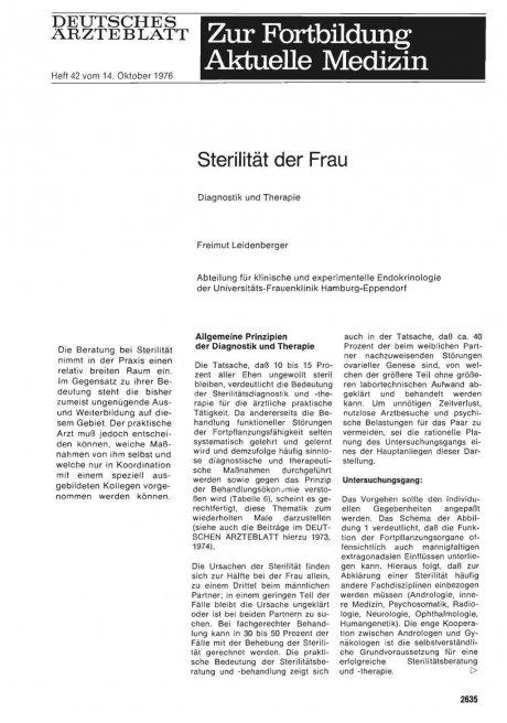 Sterilität der Frau: Diagnostik und Therapie