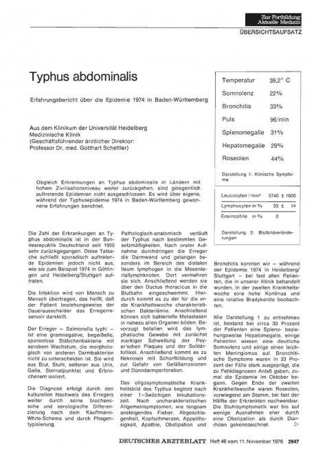 Typhus abdominalis Erfahrungsbericht über die...