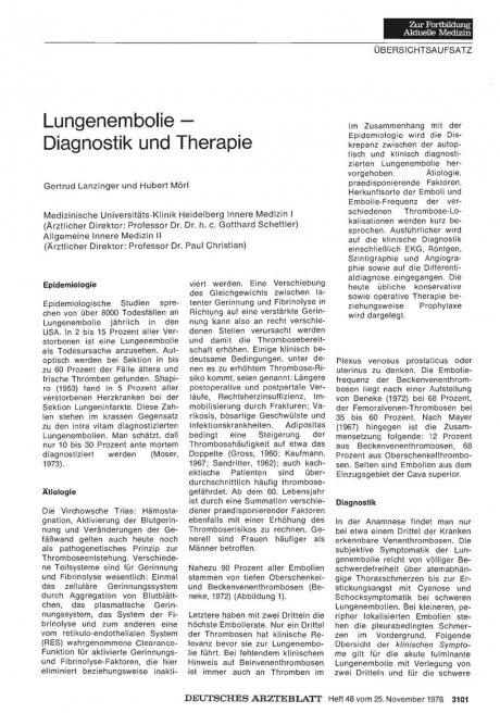 Lungenembolie Diagnostik und Therapie