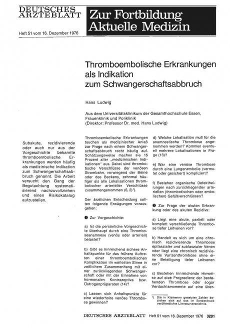Thromboembolische Erkrankungen als Indikation zum...