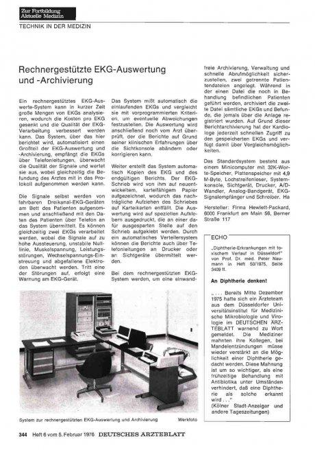 Rechnergestützte EKG -Auswertung und -Archivierung