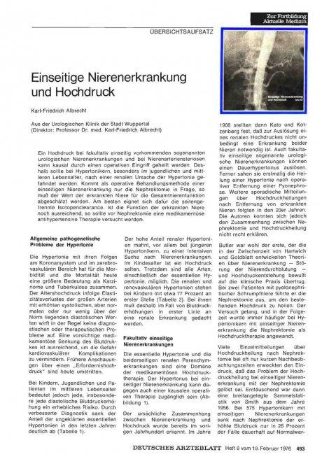 Einseitige Nierenerkrankung und Hochdruck