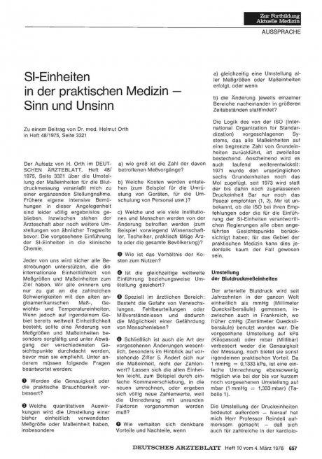 SI-Einheiten in der praktischen Medizin — Sinn und...