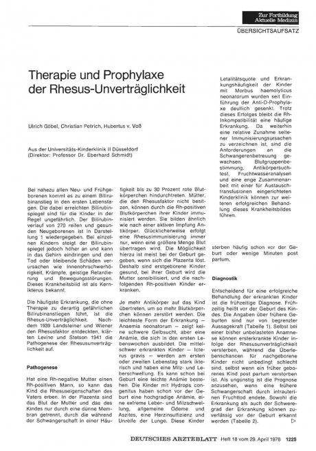 Therapie und Prophylaxe der...