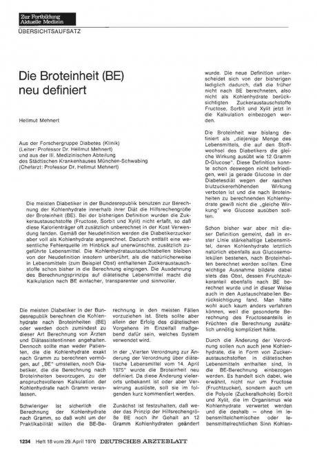 Die Broteinheit (BE) neu definiert