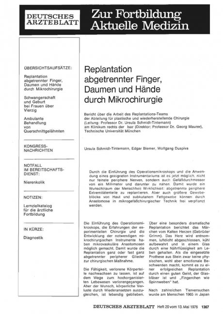 Replantation abgetrennter Finger, Daumen und Hände...