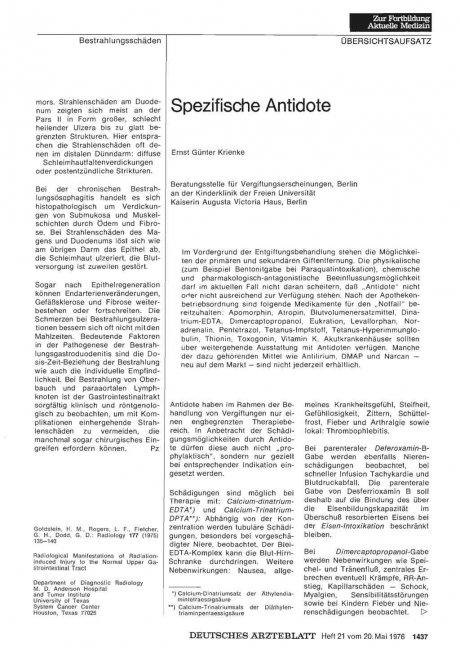 Spezifische Antidote