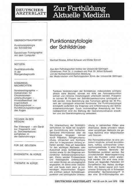 Punktionszytologie der Schilddrüse