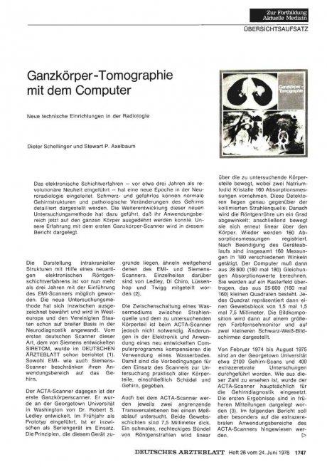Ganzkörper-Tomographie mit dem Computer