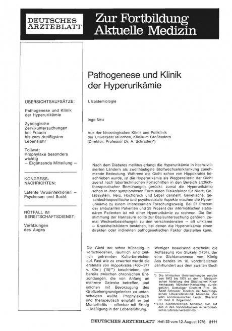 Pathogenese und Klinik der Hyperurikämie