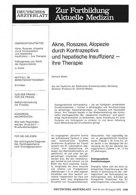 Akne, Rosazea, Alopezie durch Kontrazeptiva und...