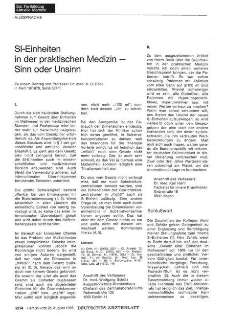 SI-Einheiten in der praktischen Medizin — Sinn...