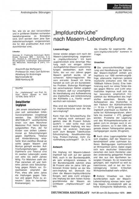 """""""Impfdurchbrüche"""" nach Masern-Lebendimpfung"""