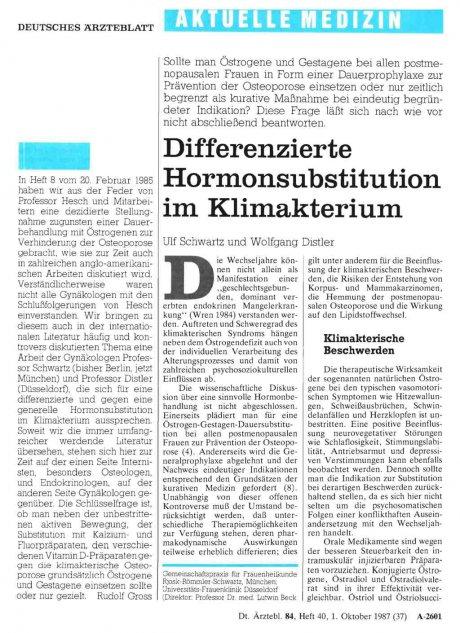 Differenzierte Hormonsubstitution im Klimakterium