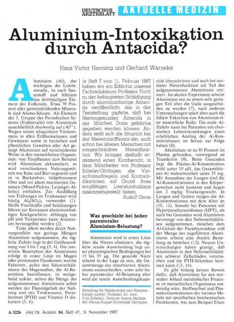Aluminium-Intoxikation durch Antacida?