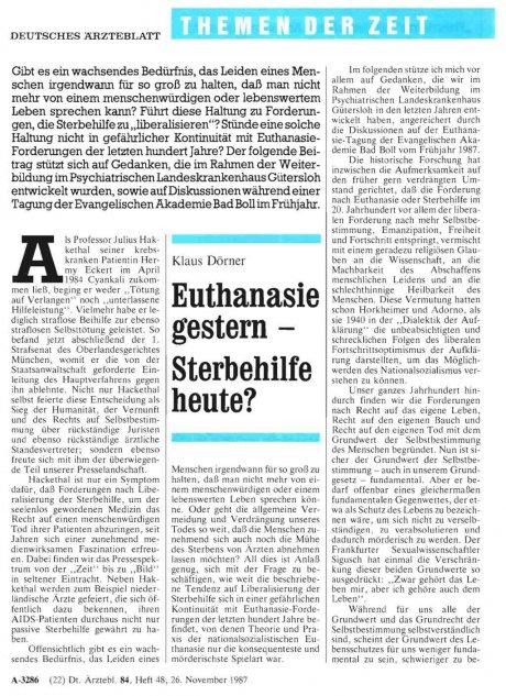 Euthanasie gestern – Sterbehilfe heute?