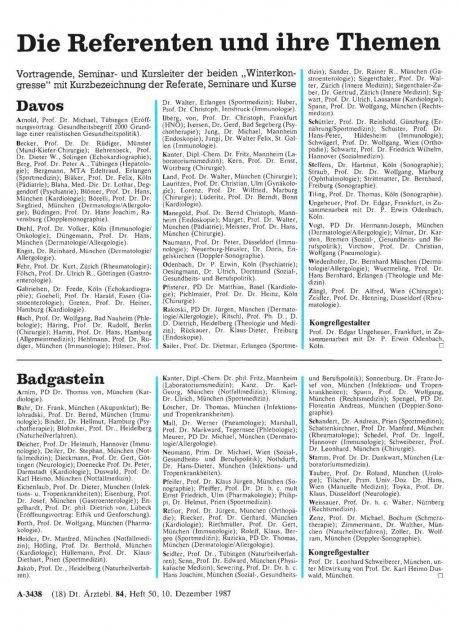 Die Referenten und ihre Themen