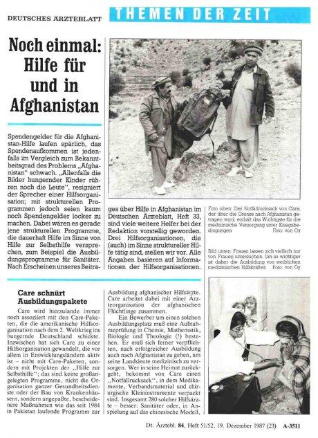 Noch einmal: Hilfe für und in Afghanistan