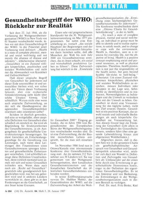 Gesundheitsbegriff der WHO: Rückkehr zur Realität