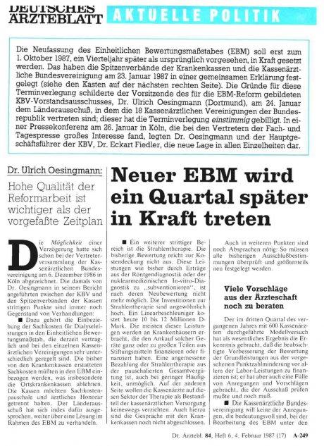 Neuer EBM wird ein Quartal später in Kraft treten