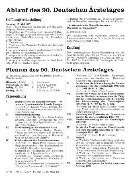 Ablauf des 90. Deutschen Ärztetages