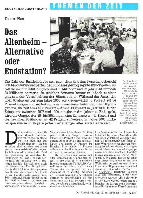 Das Altenheim - Alternative oder Endstation?