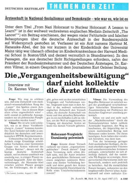 """Die """"Vergangenheitsbewältigung"""" darf nicht..."""