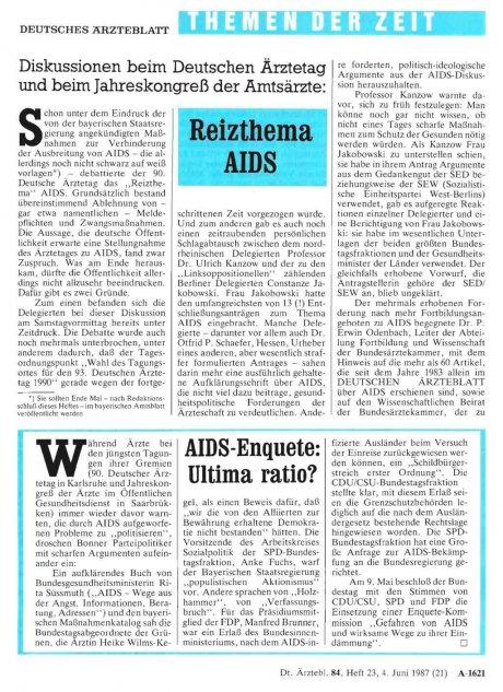 AIDS-Enquete: Ultima ratio?