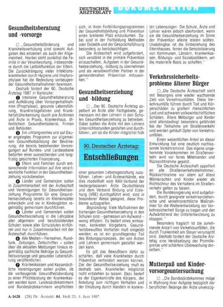 90. Deutscher Ärztetag: Entschließungen