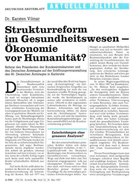 Strukturreform im Gesundheitswesen - Ökonomie vor...
