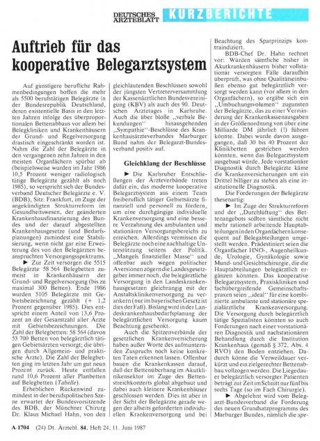 Auftrieb für das kooperative Belegarztsystem