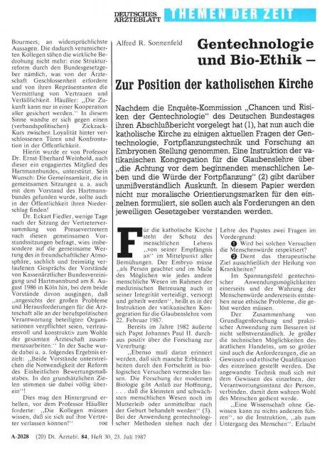 Gentechnologie und Bio-Ethik - Zur Position der...