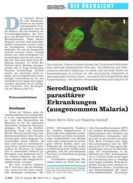 Serodiagnostik parasitärer Erkrankungen...