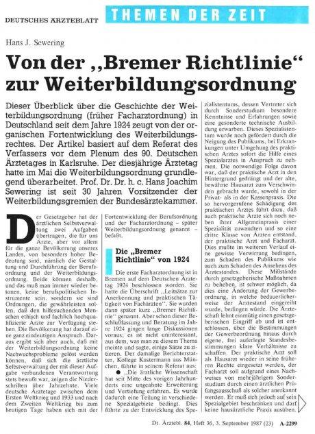 """Von der"""" Bremer Richtlinie"""" zur..."""