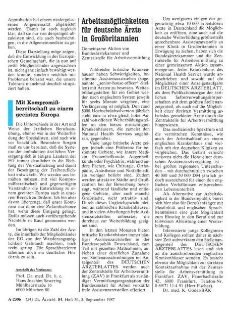 Arbeitsmöglichkeiten für deutsche Ärzte in...