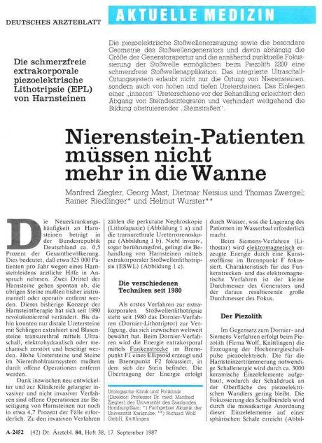Nierenstein-Patienten müssen nicht mehr in die...