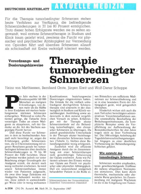 Therapie tumorbedingter Schmerzen